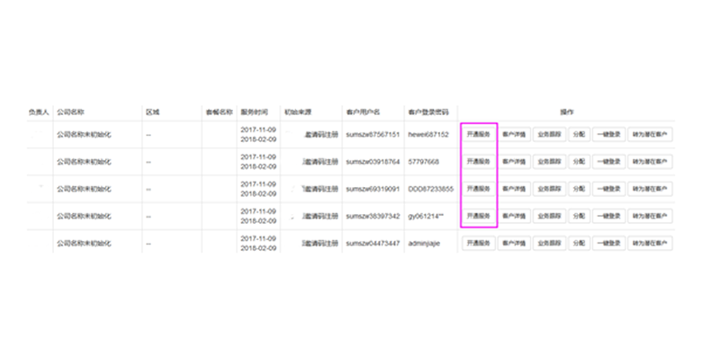 B/S开发框架CRM客户开通服务